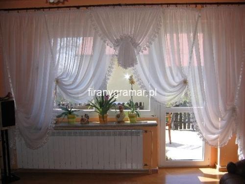 Gotowe Firany Do Salonu Okno Balkonowe Z Woalu Kreszowanego W Całości Obszyta Gipiurą 350240 Cm H Nr 1