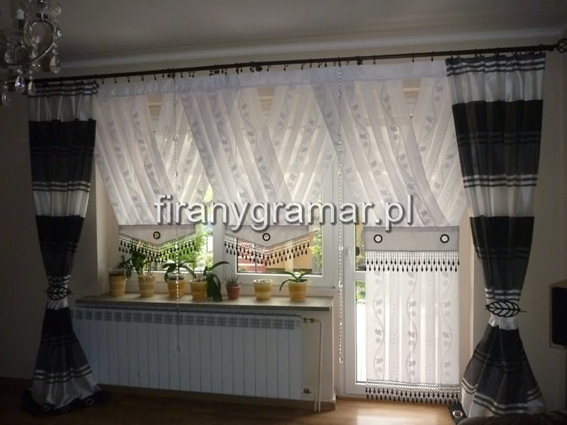 Ekskluzywne Firany Panele V Z Woalu Z 13 Cm Koralikami Okno Balkonowe 340230cm H Nr 1